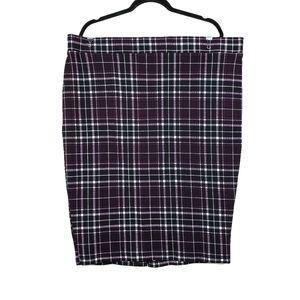 TORRID Burgundy Purple Plaid Ponte Pencil Skirt 3X
